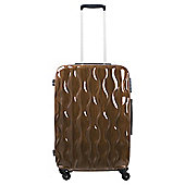 Tesco 4-Wheel Gloss Suitcase, Gold Medium