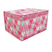 Country Club Jumbo Storage Chest, Pink Hearts, 50 x 40 x 30cm
