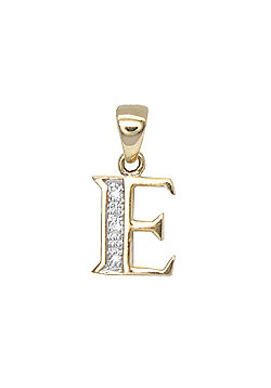 Jewelco London 9 Carat Yellow Gold Elegant 1.5pts Diamond-Set Initial Pendant - Initial E