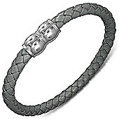 Urban Male Grey Plaited Leather Magnetic 7mm Bracelet