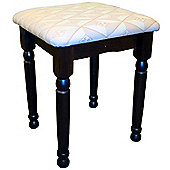 Solid Wood Dressing Table Stool - Brown Black / Cream