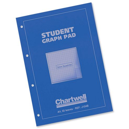 Chartwell Student Graph Pad 70gsm 5mm Quadrille 50 Sheets A4 Blue Cover Ref J6Q4B