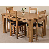 Seattle Solid Oak Extending 150 - 210 cm Dining Table with 4 Lincoln Chairs