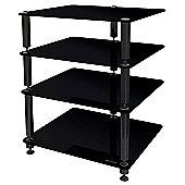 Norstone 4 Shelf Black Glass Hifi Stand