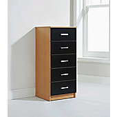 Elements Oslo 5 Drawer Tallboy Chest - Black