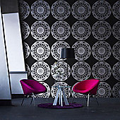 Vallila Compass Kaleidoskooppi Wallpaper - Black