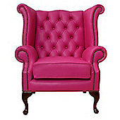 Chesterfield Queen Anne High Back Wing Chair - Vele Fuchsia Pink