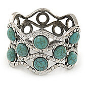 Turquoise Style Crystal Hinged Bangle Bracelet In Burn Silver Metal - Up 18cm Wrist