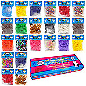 3600 Deluxe Colourful Rainbow Rubber Loom Bands Bracelet Making Set With S-Clips
