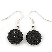Black Swarovski Crystal Ball Drop Earrings In Silver Plated Finish - 12mm Diameter/ 3cm