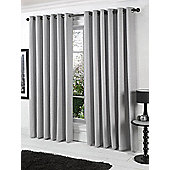 Stella Ready Made Eyelet Curtains - Fully Lined - Beige, Blue, Ivory & Silver - Silver