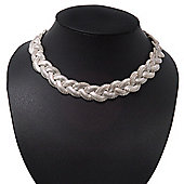 Chic Light Silver Tone 'Braided' Magnetic Choker Necklace - 34cm Length