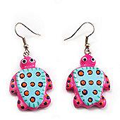 Funky Wooden Turtle Drop Earrings (Deep Pink & Light Blue ) - 4.5cm Length
