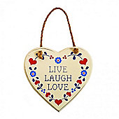 Wooden Hanging 'Live Laugh Love' Message Heart Sign Home Decoration