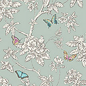 Tahlia Butterfly Wallpaper - Teal - 11432