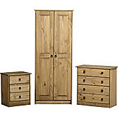 Maya Bedroom Set (Wardrobe, Chest & Bedside) Distressed Waxed Solid Pine