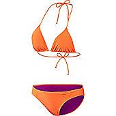 adidas Essential Triangle Womens Ladies Bikini Swimsuit Set - Orange
