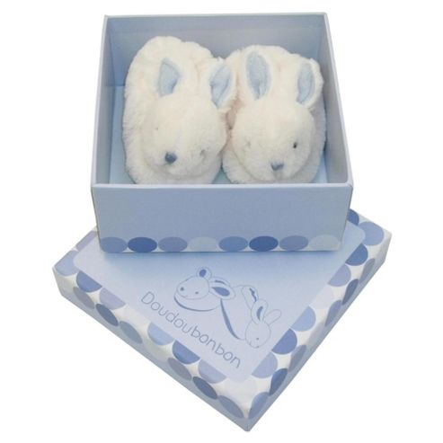 Doudou et Compagnie Rabbit Booties Gift Box 0-3 Months, Blue