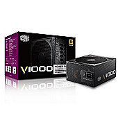 Cooler Master V Series Full Modular V1000 1000w 80PlusGold PSU UK Cables Single 1000w +12c Output up to 83A 80 Plus Gold Rating Silent 135mm FDB Fan