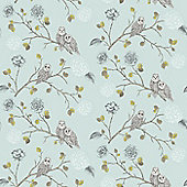 Night Owl Wallpaper - Duck Egg - 665001