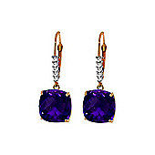 QP Jewellers Diamond & Amethyst Rococo Cushion Earrings in 14K Rose Gold