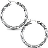 Jewelco London Sterling Silver Candy Twist s Hoop Earrings - 5mm