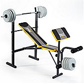 Everlast Starter Weight Bench with 30kg Vinyl Weight Set - Leg Developer and Preacher Pad
