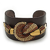 Smoke Topaz/ Citrine Swarovski Crystal 'Knot' Dark Brown Leather Flex Cuff Bracelet - Adjustable