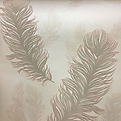 Precious Metals Sirius Feathers Wallpaper - Rose Gold - Arthouse 673600