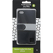 Tortoise™ Genuine Leather Folio Case iPhone 5/5S Black/Grey