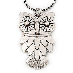 Long Owl Pendant In Silver Plated Metal - 64cm Length
