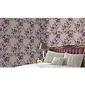 Graham & Brown Meadow Monsoon Wallpaper - Plum