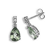 Jewelco London 18 Carat White Gold Diamond-5pt Green Amethyst-2.38ct Earring
