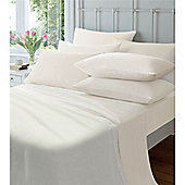 Catherine Lansfield Home Cosy Corner 145gsm Plain Dyed Flette Super King Size Bed Fitted Sheet Cream