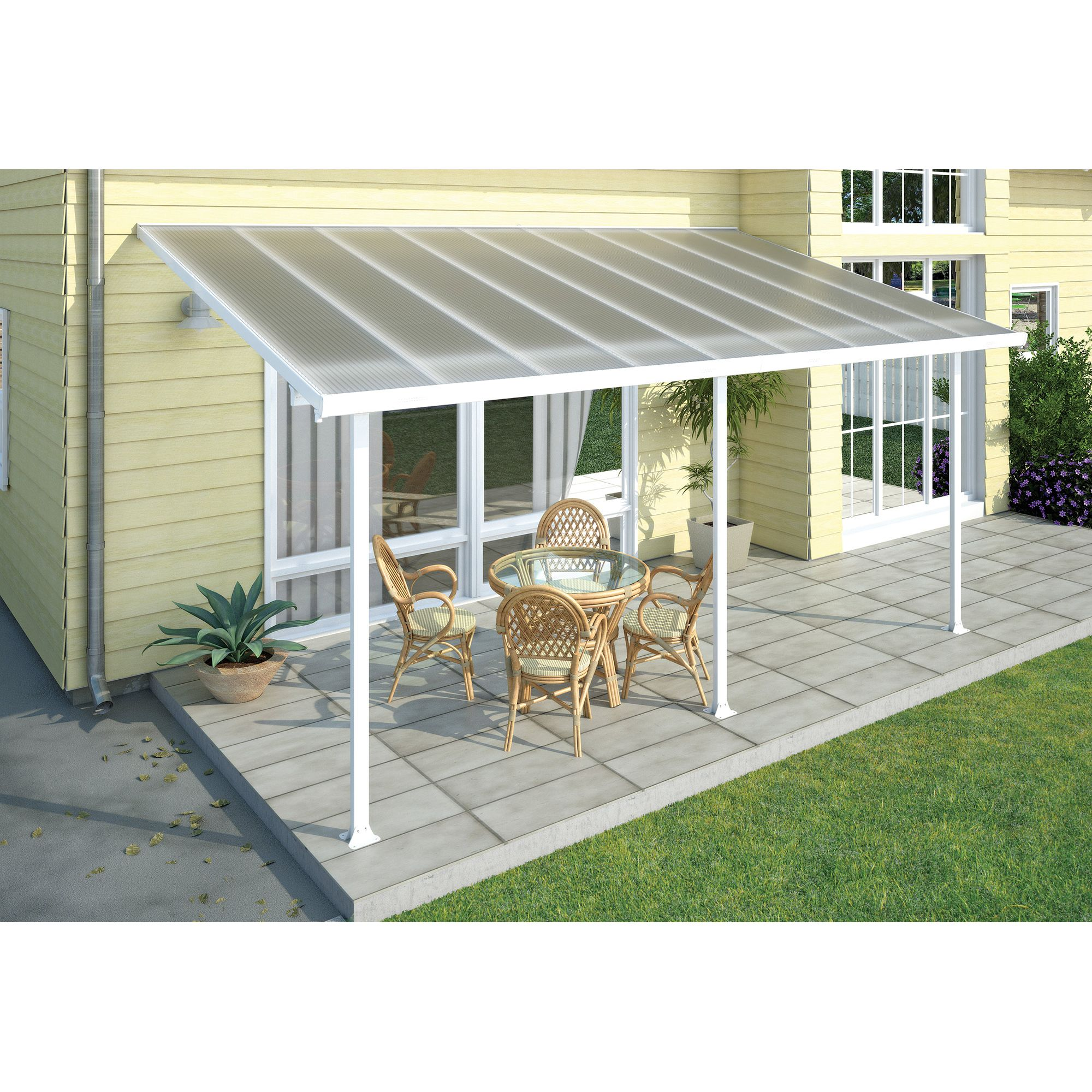 FERIA LEAN TO CARPORT AND PATIO COVER 3X5.4 WHITE at Tesco Direct