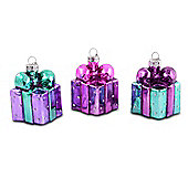 Set of Three Christmas Present Design Bauble Decorations