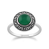 Gemondo 925 Sterling Silver Art Deco 1.42ct Green Chalcedony & Marcasite Ring