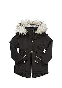 F&F Faux Fur Hood Parka - Black
