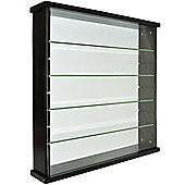 Solid Wood 4 Shelf Glass Wall Cabinet - Black