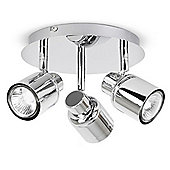 Benton 3 Way GU10 Ceiling Spotlight, Chrome IP44 Rated