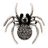 Stunning Black Crystal Spider Cocktail Ring in Burnt Silver Plating