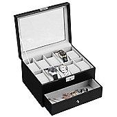 VonHaus Black Faux Leather Watch Cufflink Display Box for 10 Watches
