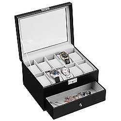 VonHaus Black Faux Leather Watch Cufflink Display Box for 10 Watches