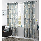 Fusion Isabel Eyelet Lined Duck Egg Blue Curtains - 90x90