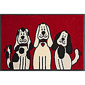 Wash & Dry by Kleen-Tex Three Dogs Flat Bordered Rug - 50cmx75cm