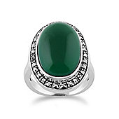 Gemondo Green Chalcedony Sparkling Marcasite Oval Ring in 925 Sterling Silver