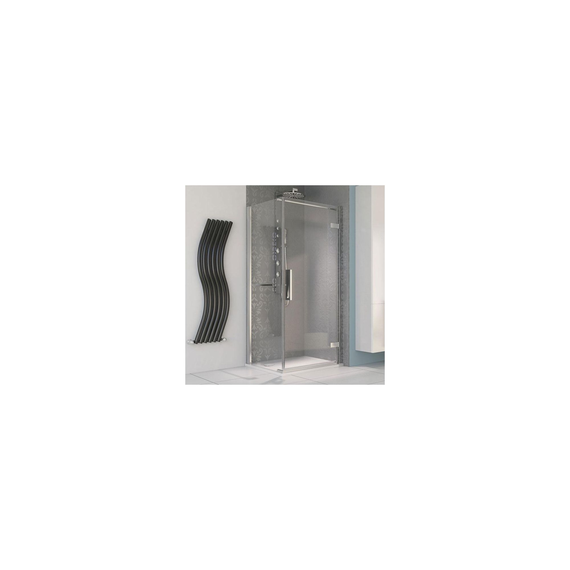 Aqualux AQUA8 Hinge Pivot Shower Door and Side Panel, 900mm x 900mm, Polished Silver Frame, 8mm Glass at Tesco Direct