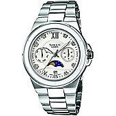 Casio Sheen Ladies Stainless Steel Day & Date Moon Phase Watch SHE-3500D-7AER