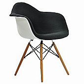 Eames Replica Dining Chair DAW White With Grey Padded Seat