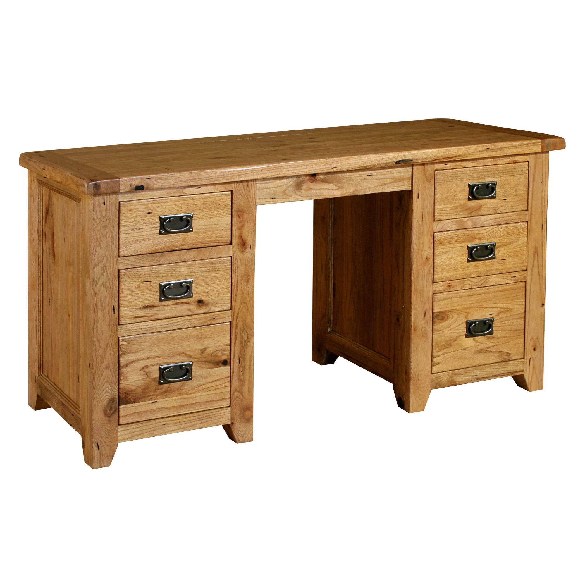 Office Office Furniture Kelburn Furniture Parnell Double Pedestal Desk In Rustic Oak